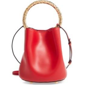 マルニ レディース ハンドバッグ バッグ Marni Two-Tone Leather Hammered Top Handle Bag Tulip/ Apricot