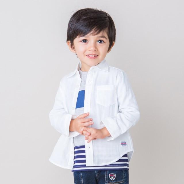 ミキハウス 二重織ガーゼシャツ 白