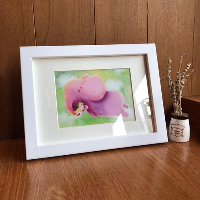 ハグシリーズピンク象の壁掛け/テーブルスタンド兼用コピー絵画付きフォトフレームウォールステッカー卒業式ギフト