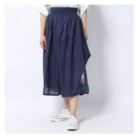 スカラー ScoLar 裾柄ワイドパンツ (ネイビー)