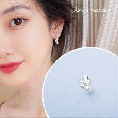 耳環《可改耳夾式》S925銀針珍珠樹葉小葉子簡約耳針【RA0113】