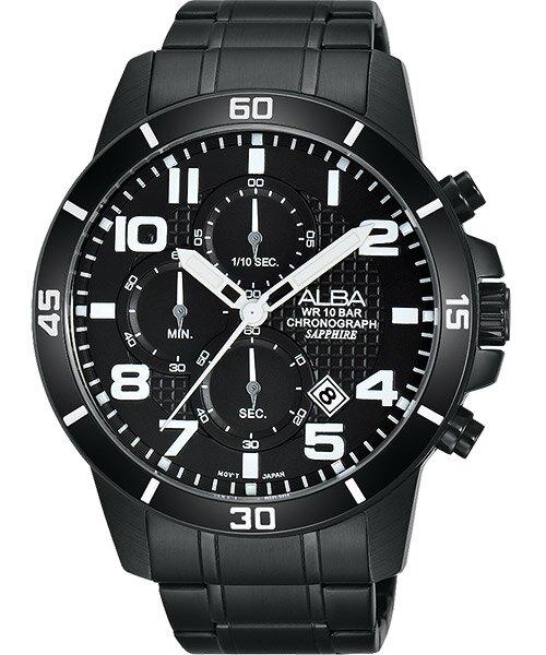ALBA VD57-X061SD(AM3255X1)翻轉時刻計時腕錶/黑面45mm