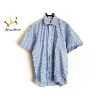 ランバン LANVIN 半袖シャツ サイズ42-16 1/2 メンズ ブルー×白 チェック柄 値下げ 20190907