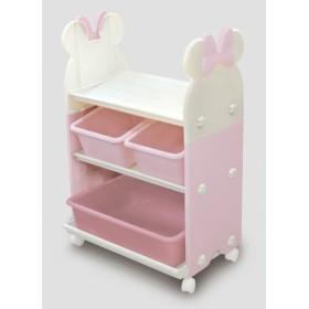 錦化成 ミニーマウス トイ・ステーション(P×BE) 組み立て式 キャスター付き おもちゃ箱・本棚に 日本製