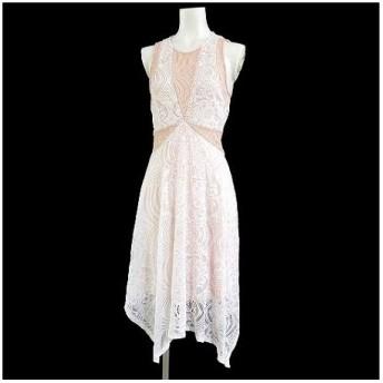 【中古】ビーシービージーマックスアズリア BCBGMAXAZRIA ワンピース ドレス Meilani Asymmetrical レース フレア ひざ丈 白