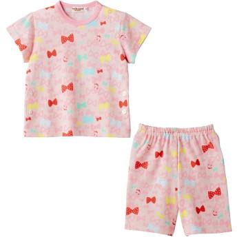 ミキハウス 【アウトレット】リボンいっぱいキャビットちゃん 半袖パジャマ(6分丈パンツ) ピンク