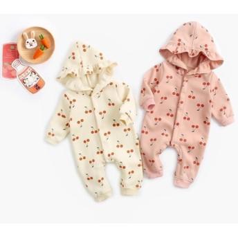 ベビー ロンパース 前開き 長袖 さくらんぼ チェリー 秋 冬用 フード付 赤ちゃん 女児 ジャンプスーツ かわいい ピンク