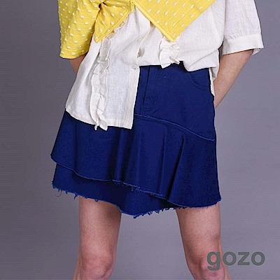 gozo 荷葉抽皺鬚邊膝上裙(二色)