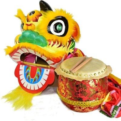 【8寸獅鼓兩件套-10寸獅頭帶被+8寸鼓-1款/組】適用6-12歲兒童舞獅醒獅表演整套道具-3001002