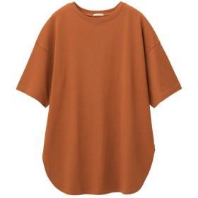 (GU)ヘビーウェイトオーバーサイズT(5分袖) ORANGE L