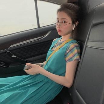 【即納】【送料無料】韓国ファッション 2 点 セット ブルー ストライプ Tシャツ タンクトップ プリーツワンピース