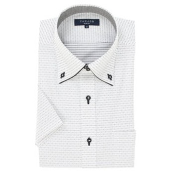 【TAKA-Q:トップス】形態安定吸水速乾スリムフィット ドゥエボットーニボタンダウン半袖ビジネスドレスシャツ
