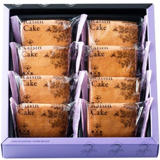 上野風月堂 レーズンケーキ 1箱(8個入)