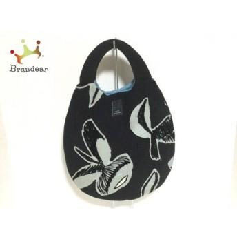 ミナペルホネン mina perhonen (mina) トートバッグ 黒×ライトブルー ポリエステル×コットン スペシャル特価 20190905