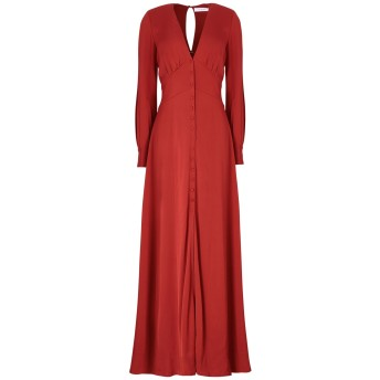 《セール開催中》IVY & OAK レディース ロングワンピース&ドレス 赤茶色 34 レーヨン 99% / ポリウレタン 1%