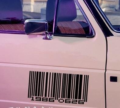 美琪 (汽車升級)汽車貼紙反光貼改裝바코드條碼個性貼條碼數字맞춤定制小劃痕遮擋