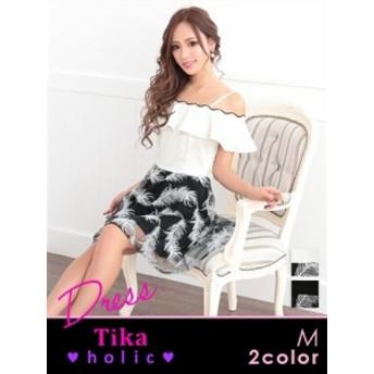 【Tika ティカ】オフショルフェザー刺繍フレアミニドレス [M][黒/白]