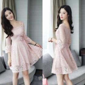 ミニ mini ドレス ミニドレス フレアースカート ワンピース ミニ 韓國 パーティードレス ミニ 膝丈 ドレス 結婚式 お呼