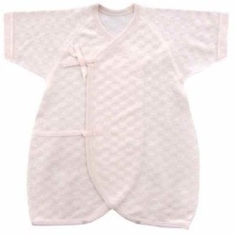 ジャガードパイル コンビ肌着 50cm - 60cm 日本製[J95048](ピンク, 50-60)