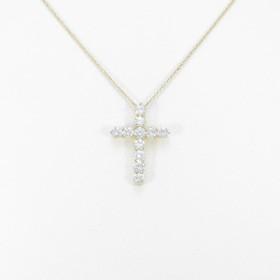 K18YG クロス ダイヤモンドネックレス