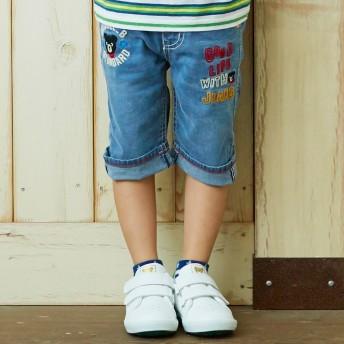 ミキハウス 刺繍付き7分丈パンツ インディゴブルー