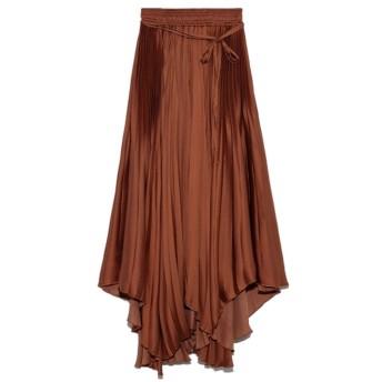 ミラオーウェン Mila Owen アシンメトリーヘムプリーツギャザースカート (ブラウン)