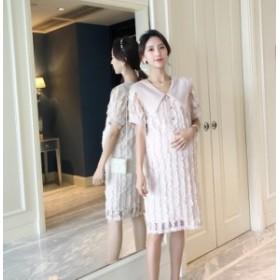 マタニティーレースドレス 半袖 上品 大人可愛い 結婚式 二次会 パーティー 大人 妊娠 妊婦 マタニティウェア シンプルデザイン 授乳期も