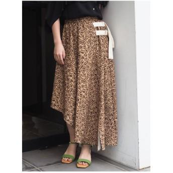 MURUA フラワーレオパードスカート キャメル