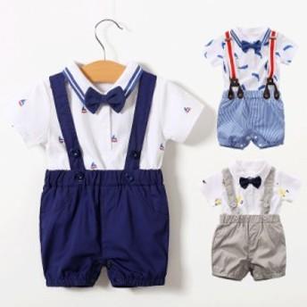 ベビー夏服 蝶ネクタイフォーマル風 59~90cm 3ヵ月~3歳