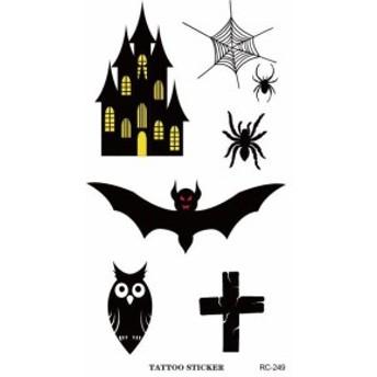 I 貼るTATOO!tt-rc249 コウモリ・十字架・城タトゥシール 室内装飾 インテリア ボディシール 室内装飾 インテリア タトゥー