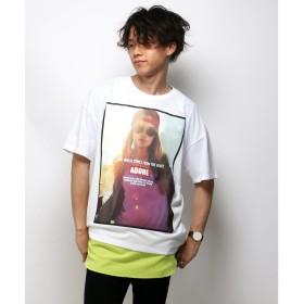VENCE EXCHANGE MENS フロントシートプリントTシャツ(ホワイト)【返品不可商品】