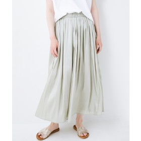 haco! 【裏地付き】【人気色追加】1枚でも重ね着にも便利なキラキラ素材がかわいいロングスカート by laulea(グリーン)