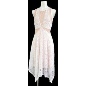 【中古】ビーシービージーマックスアズリア BCBGMAXAZRIA ワンピース ドレス Meilani Asymmetrical レース ひざ丈 白 XS