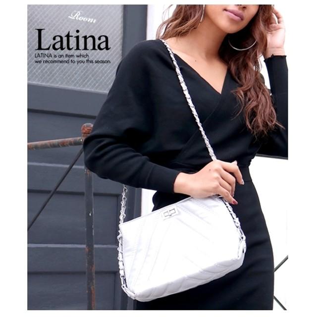 anap Latina バイアスキルティングシルバーチェーンショルダーバッグ
