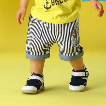 ミキハウス 【アウトレット】イカリワッペン付きビーンズくん6分丈パンツ 紺×白