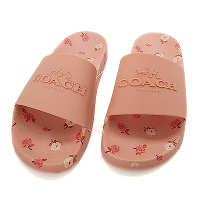 COACH 經典LOGO 印花 PVC防水拖鞋 -粉色