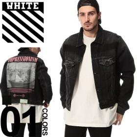 オフホワイト OFF-WHITE デニムジャケット バックプリント EXAGGERATED DENIM ブランド メンズ アウター Gジャン OWYE17R19812011