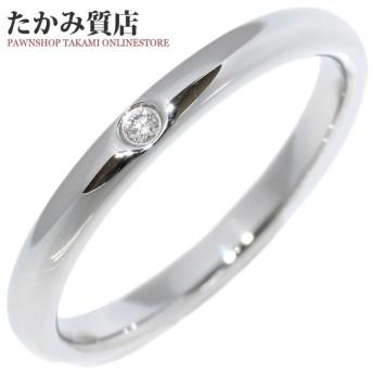ティファニー 指輪 リング メンズリング Pt950 ダイヤ1P 0.02ct エルサ・ペレッティ スタッキングバンドリング 17.5号