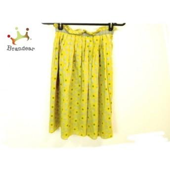 ホコモモラ スカート サイズ40 XL レディース 美品 イエロー×ライトグレー×グリーン 新着 20190622