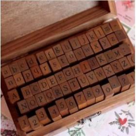 アンティーク アルファベット 数字スタンプ 70個 木箱入り