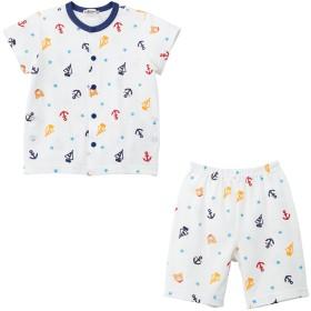 ミキハウス 【アウトレット】ビーンズくん前開き半袖パジャマ(6分丈パンツ) 白