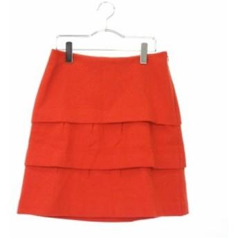 【中古】プロポーション ボディドレッシング PROPORTION BODY DRESSING スカート ティアード ミニ ウール 3 オレンジ ZPS