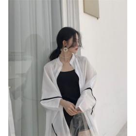 ★新製品の入荷★韓国ファッション 日焼け止め服 女性 2019夏 新作 シフォントップス ゆるい カーディガン ショール 薄い