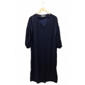【中古】エフデ ef-de ワンピース シャツ ノーカラー ロング ミモレ 八分袖 9 紺 ネイビー /FH20 レディース