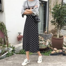 トレンド 売れ筋 夏 スカート ハイウエスト ドット Aライン 膝下 ミモレ丈 ガーリー 可愛い お出かけ デート hf02292