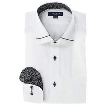 【TAKA-Q:トップス】形態安定スリムフィット ワイドカラー衿切替長袖ビジネスドレスシャツ/ワイシャツ