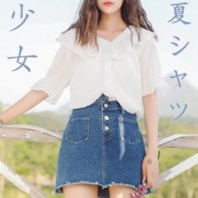「森ガール」2019春夏 白いシフォンシャツ 女性半袖薄いルーズ 小さな蓮葉のスーパー Vネックシャツ  学生シャツ 通勤シャツ