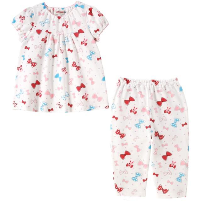 ミキハウス 【アウトレット】リボンいっぱい うさこ半袖パジャマ 白