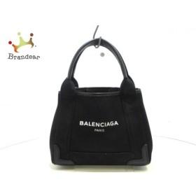 バレンシアガ BALENCIAGA トートバッグ ネイビーカバXS 390346 黒 キャンバス×レザー  値下げ 20190628