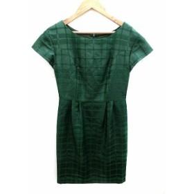 【中古】アンタイトル UNTITLED ワンピース 半袖 ひざ丈 チェック 2 緑 グリーン /AKK17 レディース